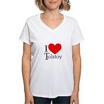 I Love Tolstoy Women's V-Neck T-Shirt