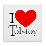 I Love Tolstoy Tile Coaster