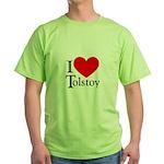I Love Tolstoy Green T-Shirt
