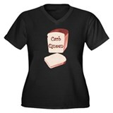 Carb Queen Women's Plus Size V-Neck Dark T-Shirt