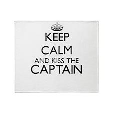 Keep calm and kiss the Captain Throw Blanket