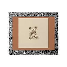 Vintage Russian Sketch Teddy Bear Throw Blanket