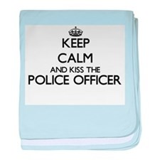 Keep calm and kiss the Police Officer baby blanket