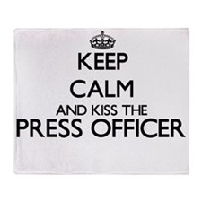 Keep calm and kiss the Press Officer Throw Blanket