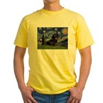 Starry Night Dachshund Yellow T-Shirt