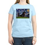 Starry Night Dachshund Women's Light T-Shirt