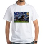 Starry Night Dachshund White T-Shirt