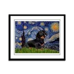 Starry Night Dachshund Framed Panel Print