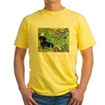 Irises & Dachshund (BT4) Yellow T-Shirt