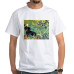 Irises & Dachshund (BT4) White T-Shirt