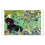 Irises & Dachshund (BT4) Sticker (Rectangle)