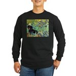 Irises & Dachshund (BT4) Long Sleeve Dark T-Shirt