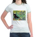 Irises & Dachshund (BT4) Jr. Ringer T-Shirt