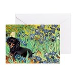 Irises & Dachshund (BT4) Greeting Cards (Pk of 10)