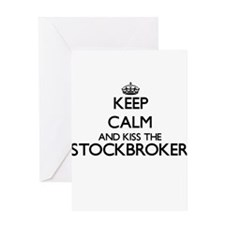 Keep calm and kiss the Stockbroker Greeting Cards