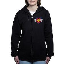 Vintage Colorado State Flag Heart Women's Zip Hood