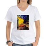 Cafe & Dachshund Women's V-Neck T-Shirt