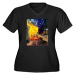 Cafe & Dachshund Women's Plus Size V-Neck Dark T-S
