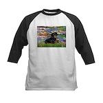 Lilies (2) & Dachshund Kids Baseball Jersey
