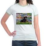 Lilies (2) & Dachshund Jr. Ringer T-Shirt