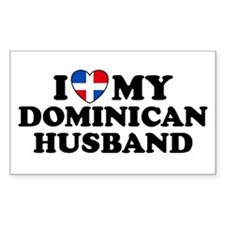 I Love My Dominican Husband Rectangle Decal