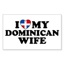 I Love My Dominican Wife Rectangle Decal