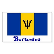 Barbados Flag Rectangle Decal