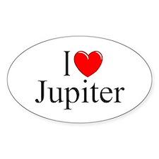 """""""I Love Jupiter"""" Oval Decal"""
