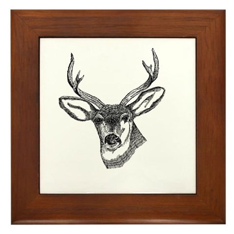Whitetail Deer Framed Tile