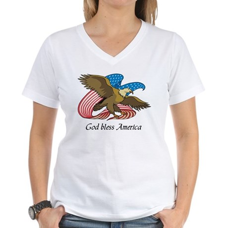 God Bless America Women's V-Neck T-Shirt