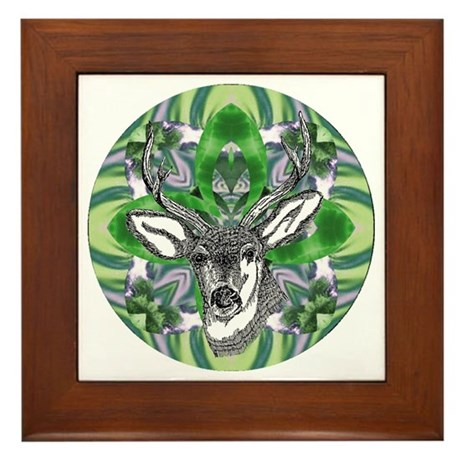 Kaliedoscope Deer Framed Tile