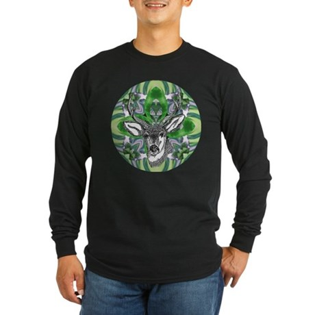 Kaliedoscope Deer Long Sleeve Dark T-Shirt