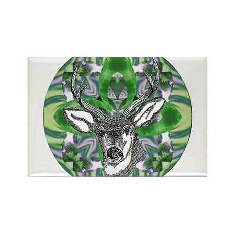 Kaliedoscope Deer Rectangle Magnet