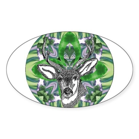 Kaliedoscope Deer Oval Sticker