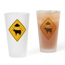 UFO Cow Abduction Drinking Glass