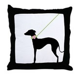 Black Dog w/ Flower Throw Pillow