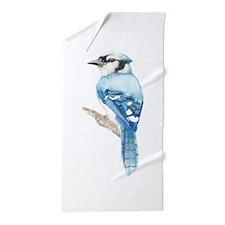 Watercolor Blue Jay Bird Nature Art Beach Towel