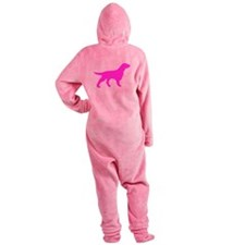 Pink Flat Coated Retriever Silhouette Footed Pajamas