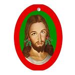 Jesus Holly Earrings Oval Ornament