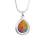 Geometric Triangles Squa Silver Teardrop Necklace