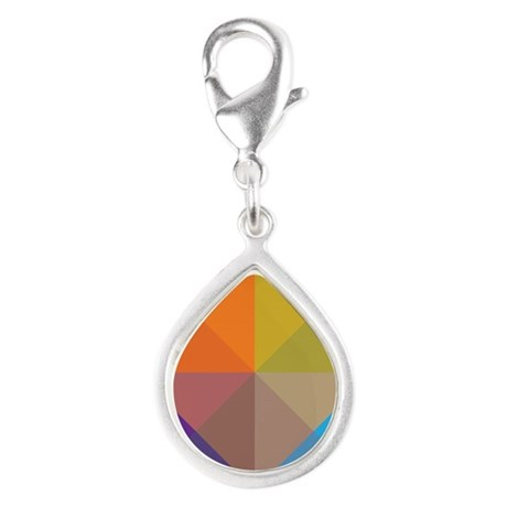 Geometric Triangles Squares Silver Teardrop Charm