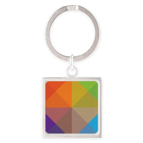 Geometric Triangles Squares Square Keychain