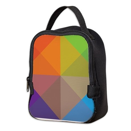 Geometric Triangles Squares Neoprene Lunch Bag