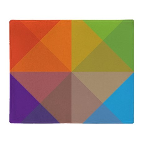 Geometric Triangles Squares Throw Blanket