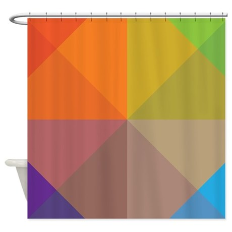 Geometric Triangles Squares Shower Curtain