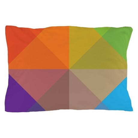 Geometric Triangles Squares Pillow Case