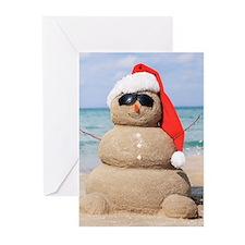 Beach Snowman Greeting Cards