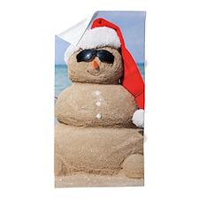 Beach Snowman Beach Towel