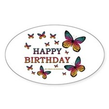 Butterfly Birthday Oval Decal