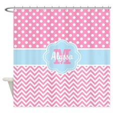 Pink Blue Dots Chevron Personalized Shower Curtain
